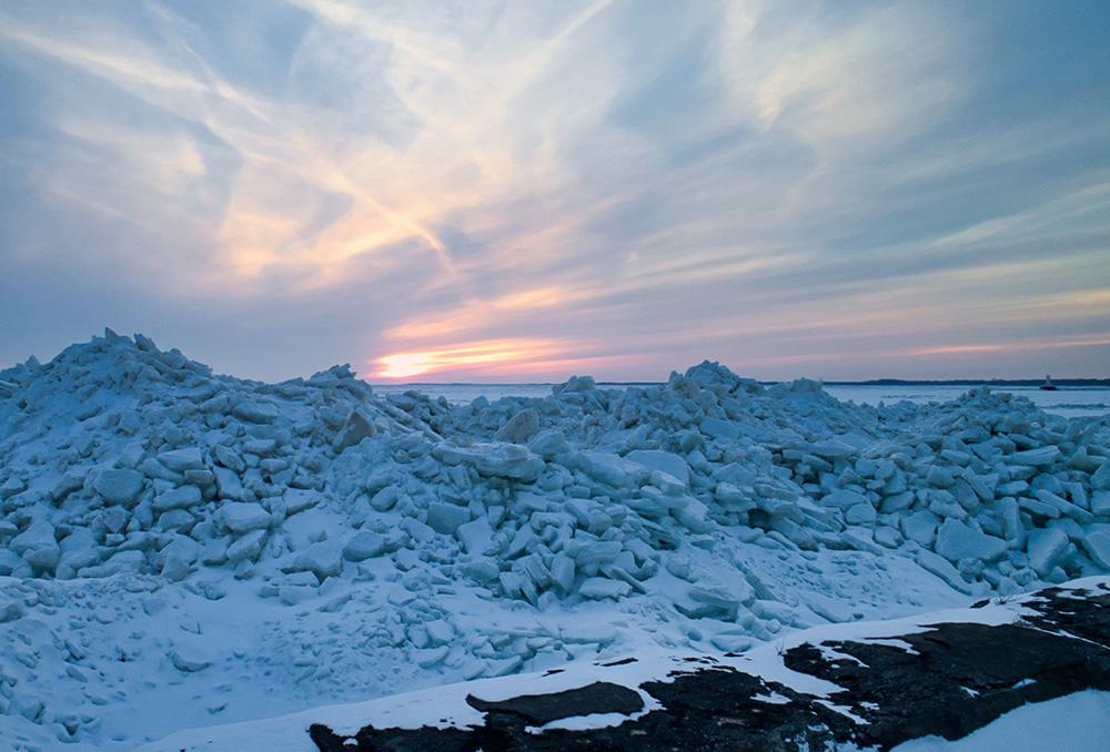Buffalo Ice Photography Harbor Sunset