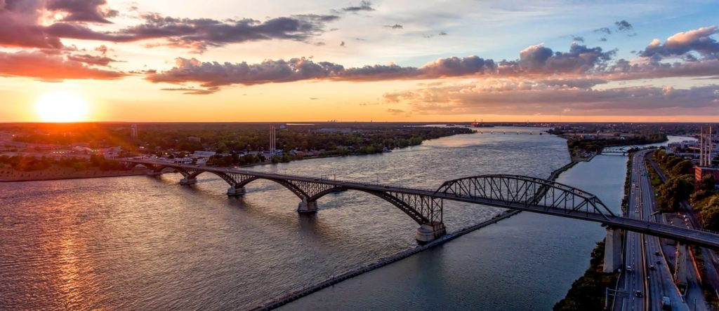 Buffalo NY Aerial Peace Bridge Landscape
