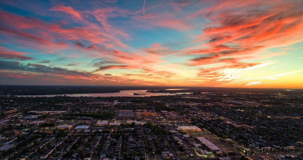 Buffalo NY Aerial Sunset Photography